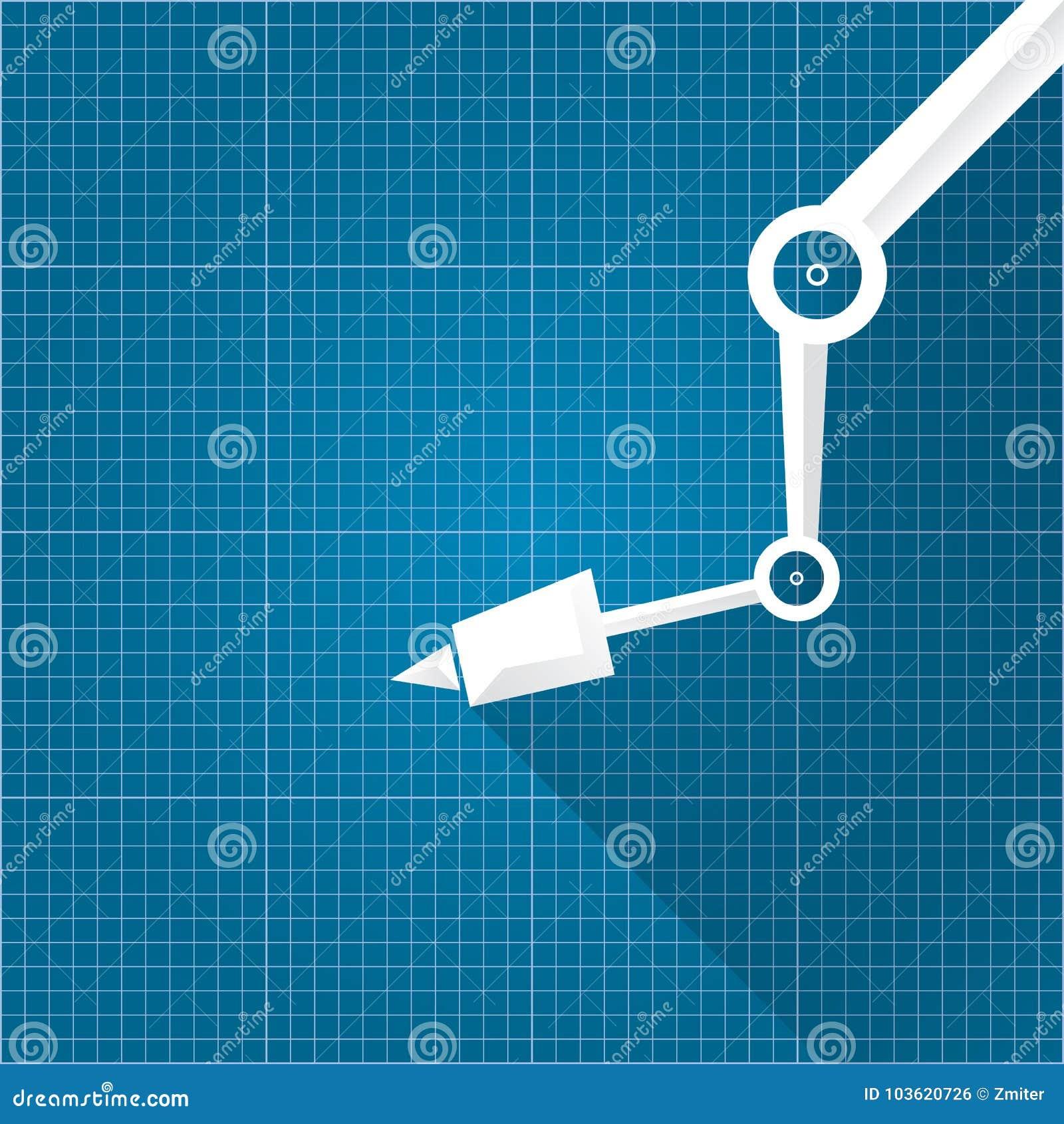 Download Vector Robotic Arm Symbol On Blueprint Paper Background. Robot  Hand. Technology Background Design
