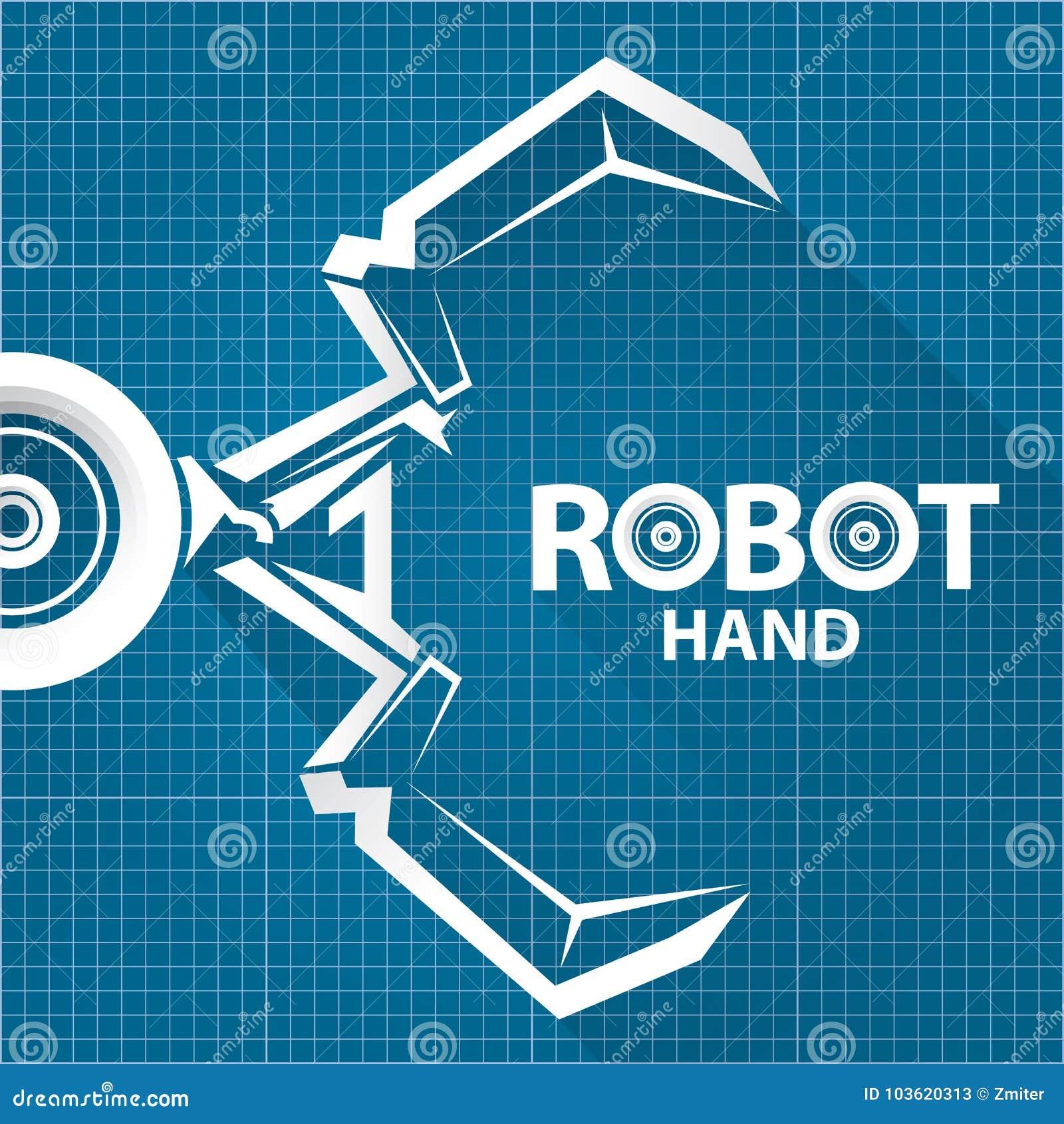 Vector robotic arm symbol on blueprint paper background robot vector robotic arm symbol on blueprint paper background robot hand technology background design malvernweather Image collections
