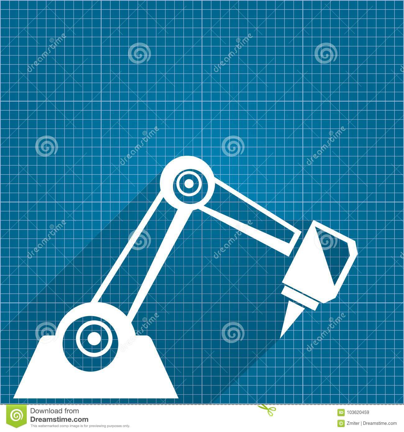 Vector robotic arm symbol on blueprint paper background robot hand vector robotic arm symbol on blueprint paper background robot hand technology background design engineering icon malvernweather Images