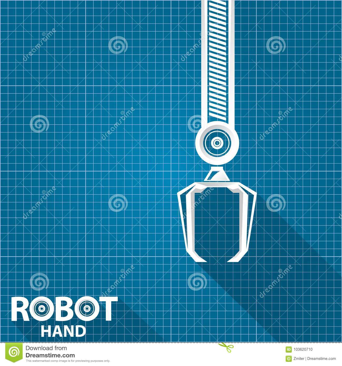 Vector robotic arm symbol on blueprint paper background robot hand vector robotic arm symbol on blueprint paper background robot hand technology background design engineering hydraulic malvernweather Choice Image