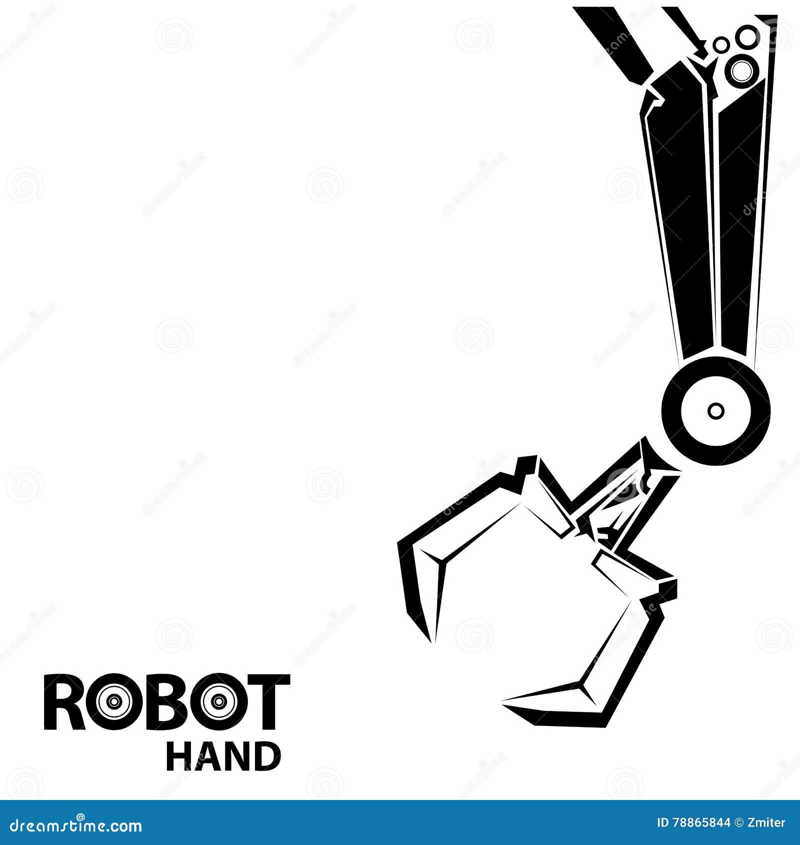 vector robotic arm symbol  robot hand  stock vector