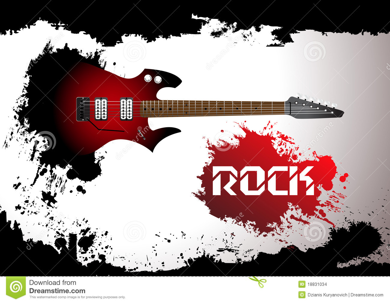 Rock Guitar Clipart Vector rock guitar background.