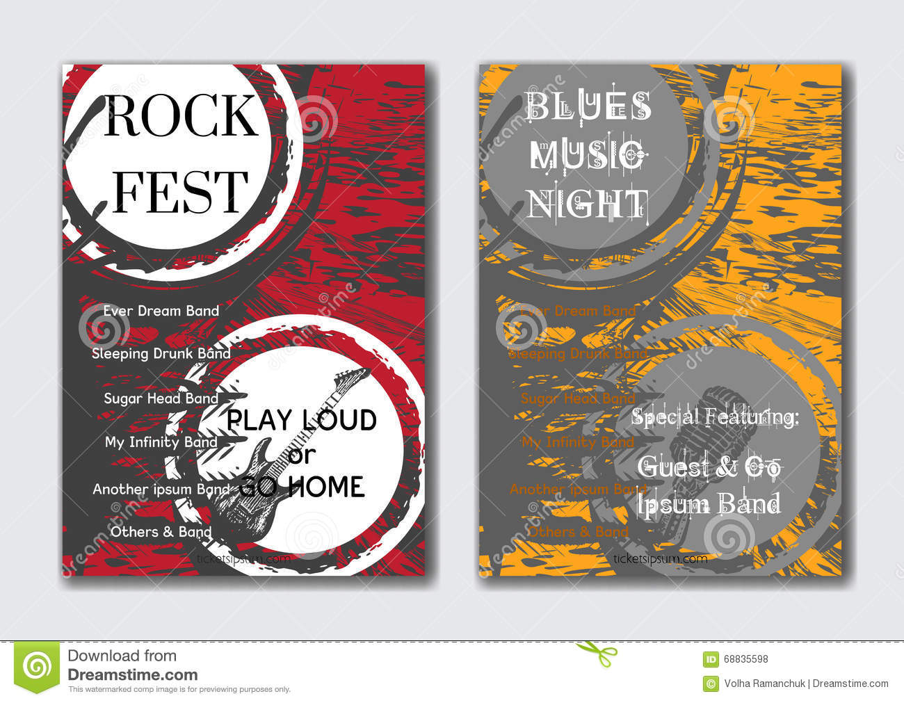 Vector rock, jazz or blues music poster templates set.