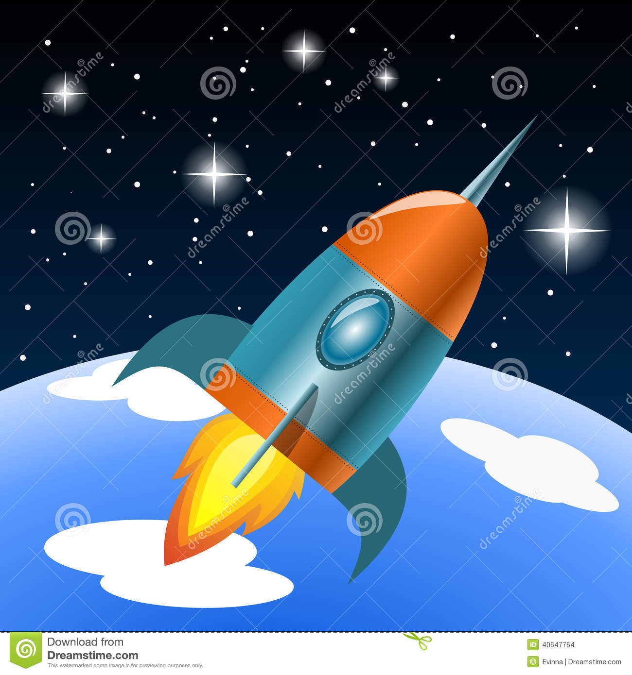 vector rocket flying into space stock vector image 40647764. Black Bedroom Furniture Sets. Home Design Ideas