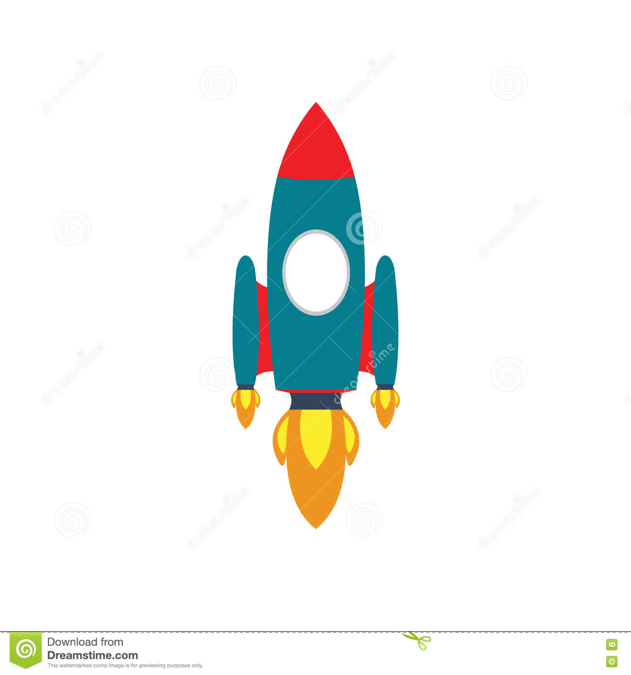 Vector Rocket Icon, Rocket Ship In A Flat Style, Project