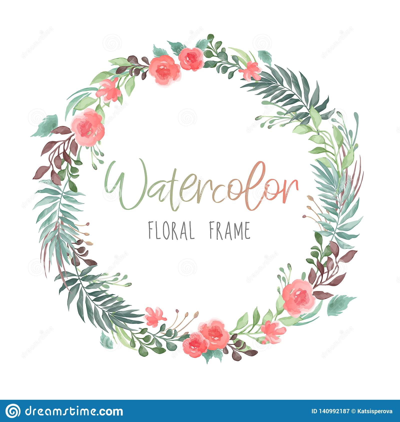 Vector romantic round floral frame with plants and flowers in watercolor style isolated on white background - great for invitation