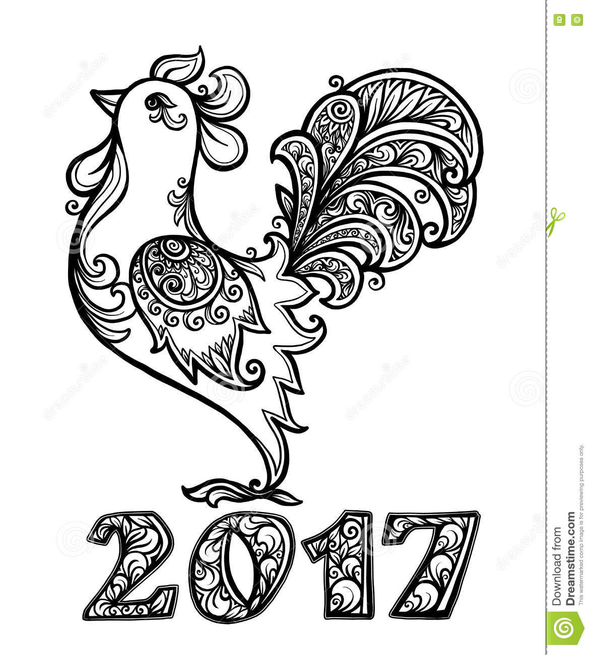 Colouring sheets chinese new year 2017 - Vector Rooster In Hand Drawn Ornate Doodle Style Chinese New Year Symbol With Ornamental 2017 Number