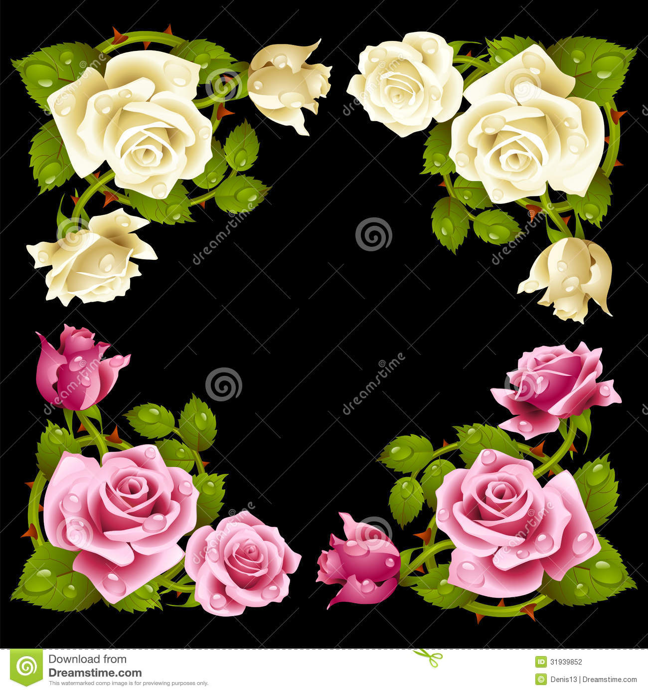 Vector rose corner isolated on black background stock photography background black corner flowers isolated pink rose white dhlflorist Choice Image