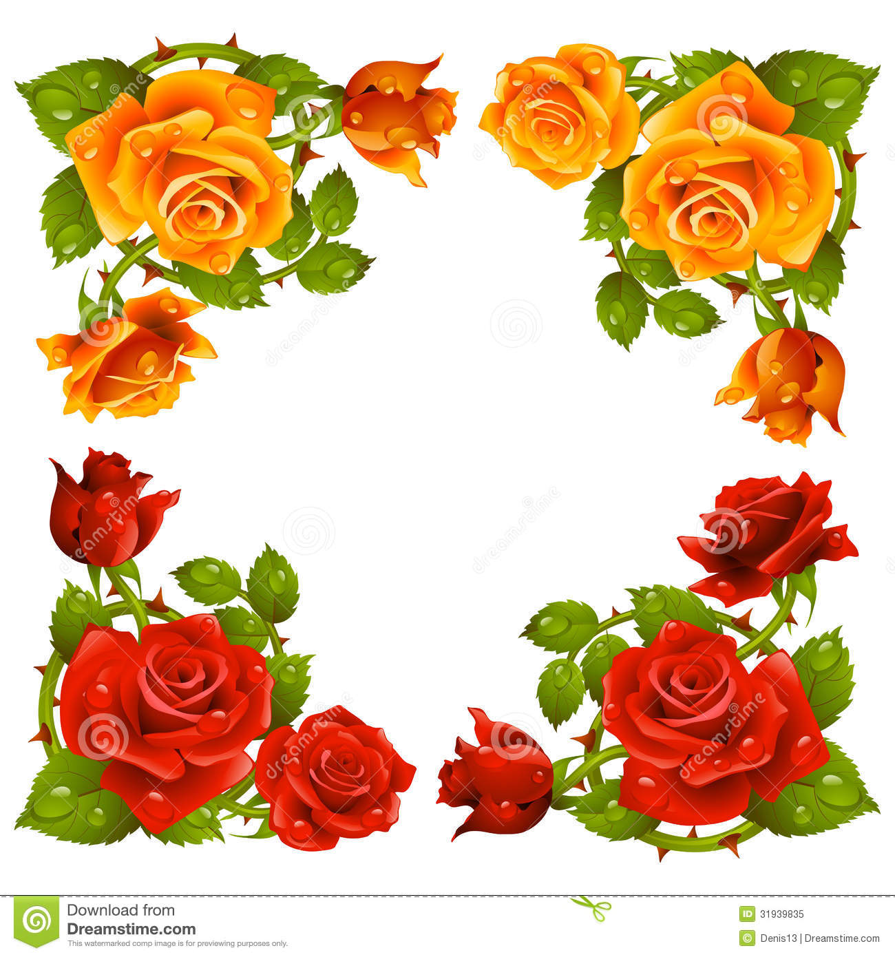Vector Rose Corner Isolated On White Background Royalty