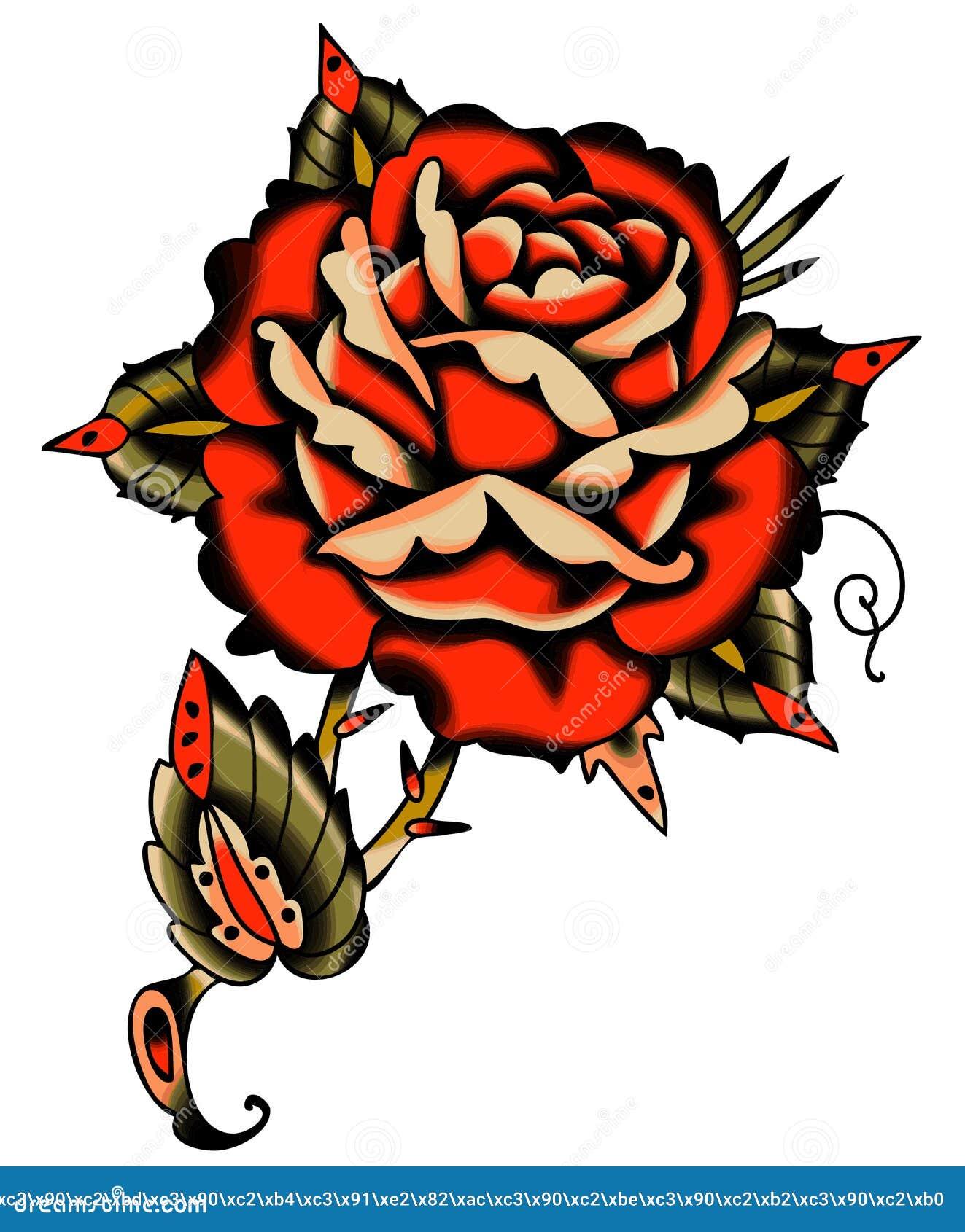 Vector Rose Tattoo Style roja