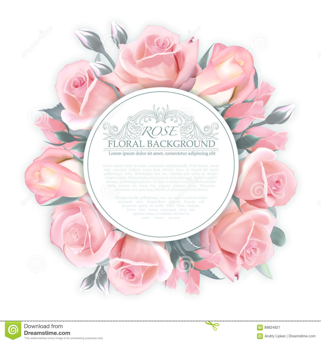 Vector Rose Wreath Template For Wedding Invitation Greeting Card