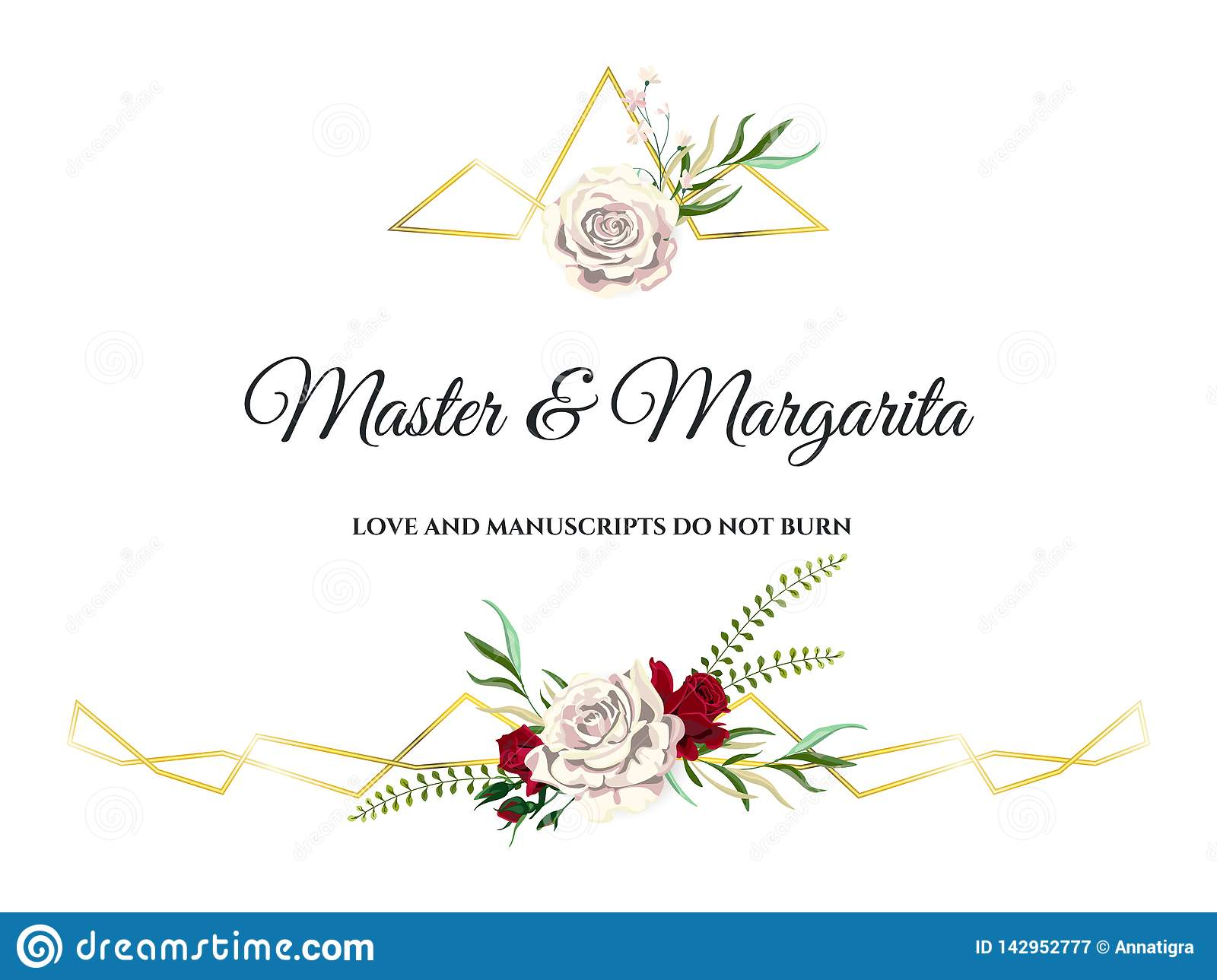 Vector Roses Wedding Invitation Card For Design 01 Stock