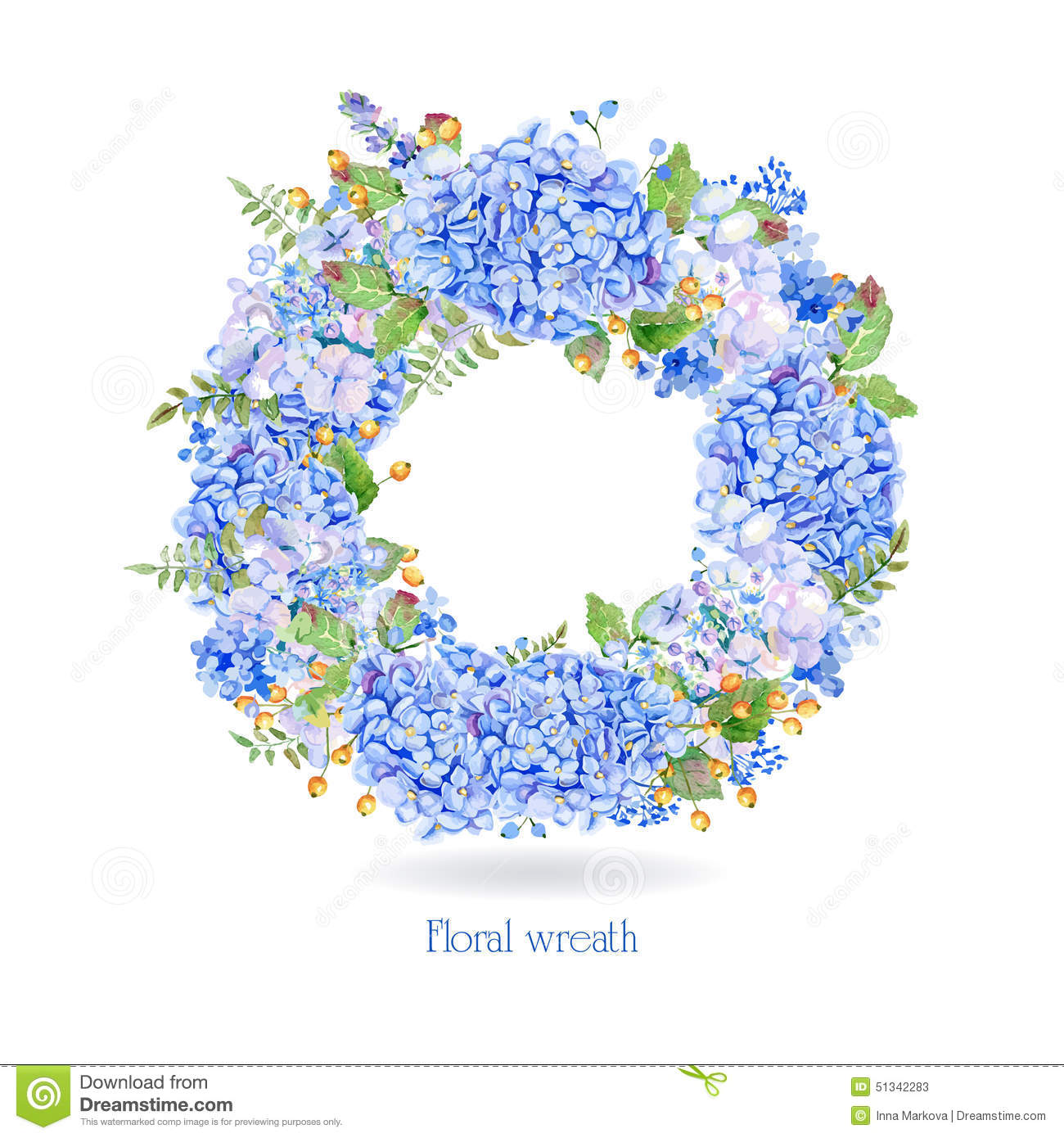 Vector Round Frame Of Blue Watercolor Hydrangea And ...