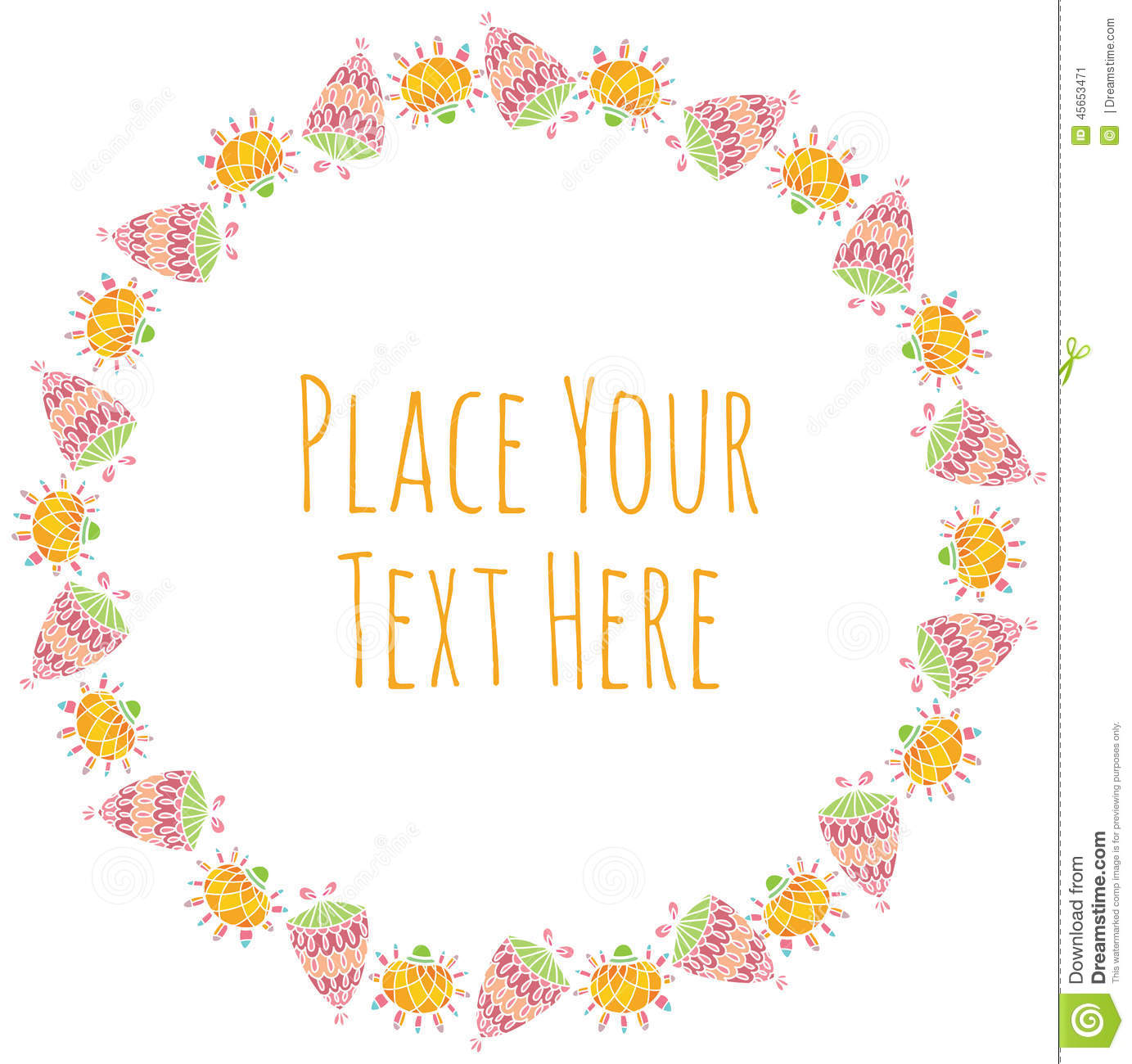 Vector Round Frame Of Colorful Flowers Stock