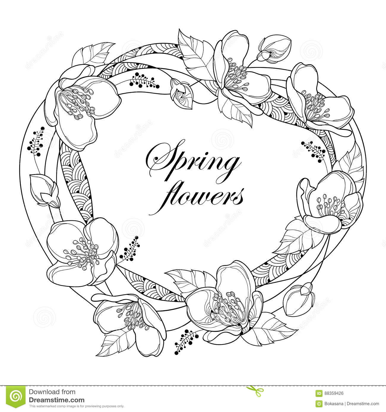Vector Round Frame With Outline Jasmine Flowers Bud And Leaves