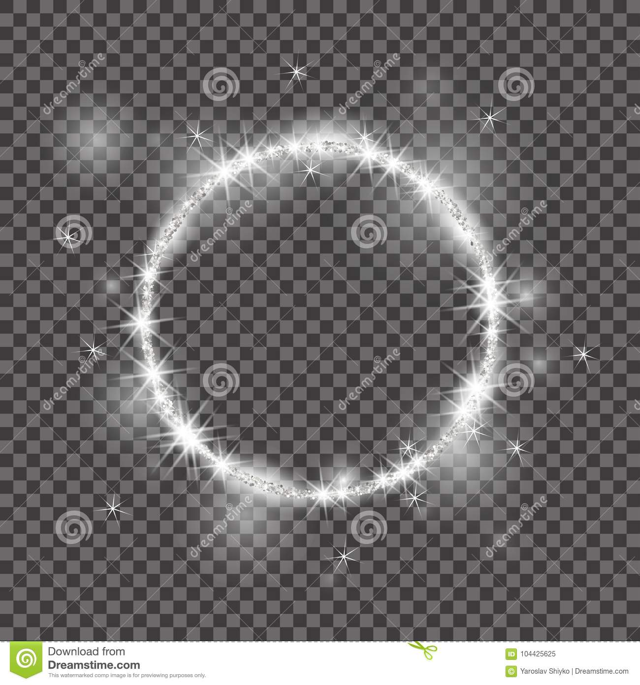 Vector round frame. 2018, White glittering star dust circles. Good for Christmas holiday. Shining circle banner on