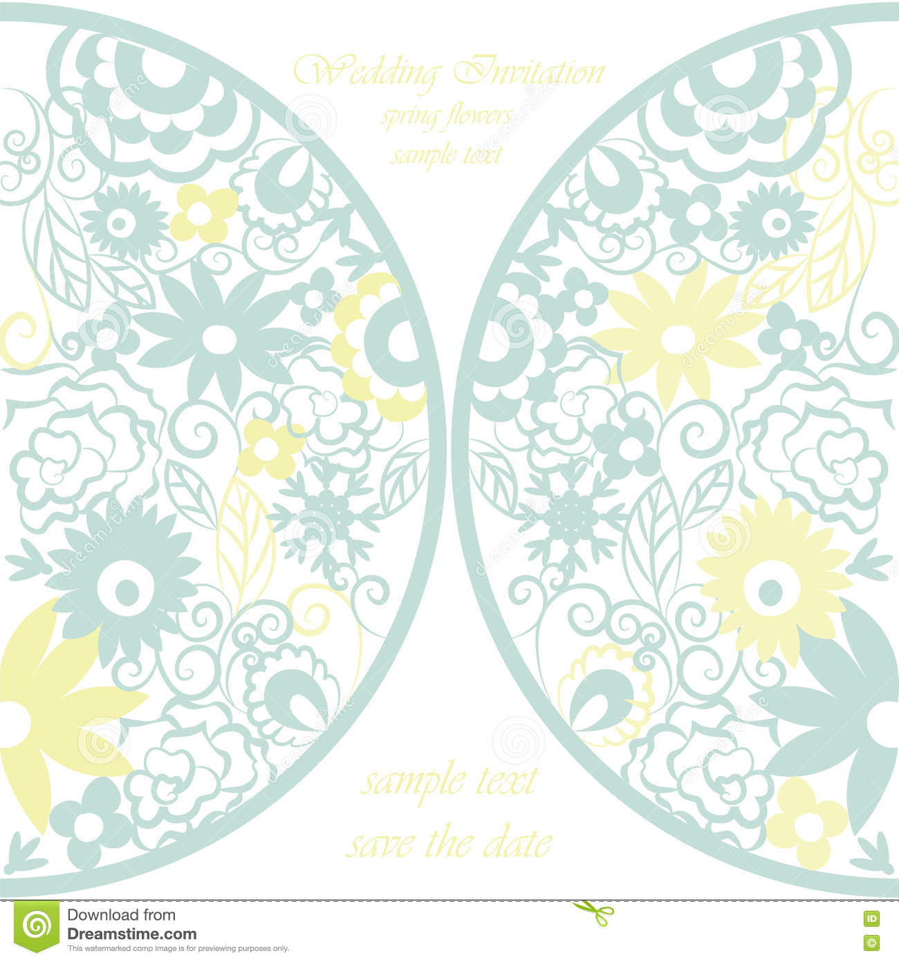 Crochet Wedding Invitations: Vector Round Invitation Card Ornamental Lace Crochet With