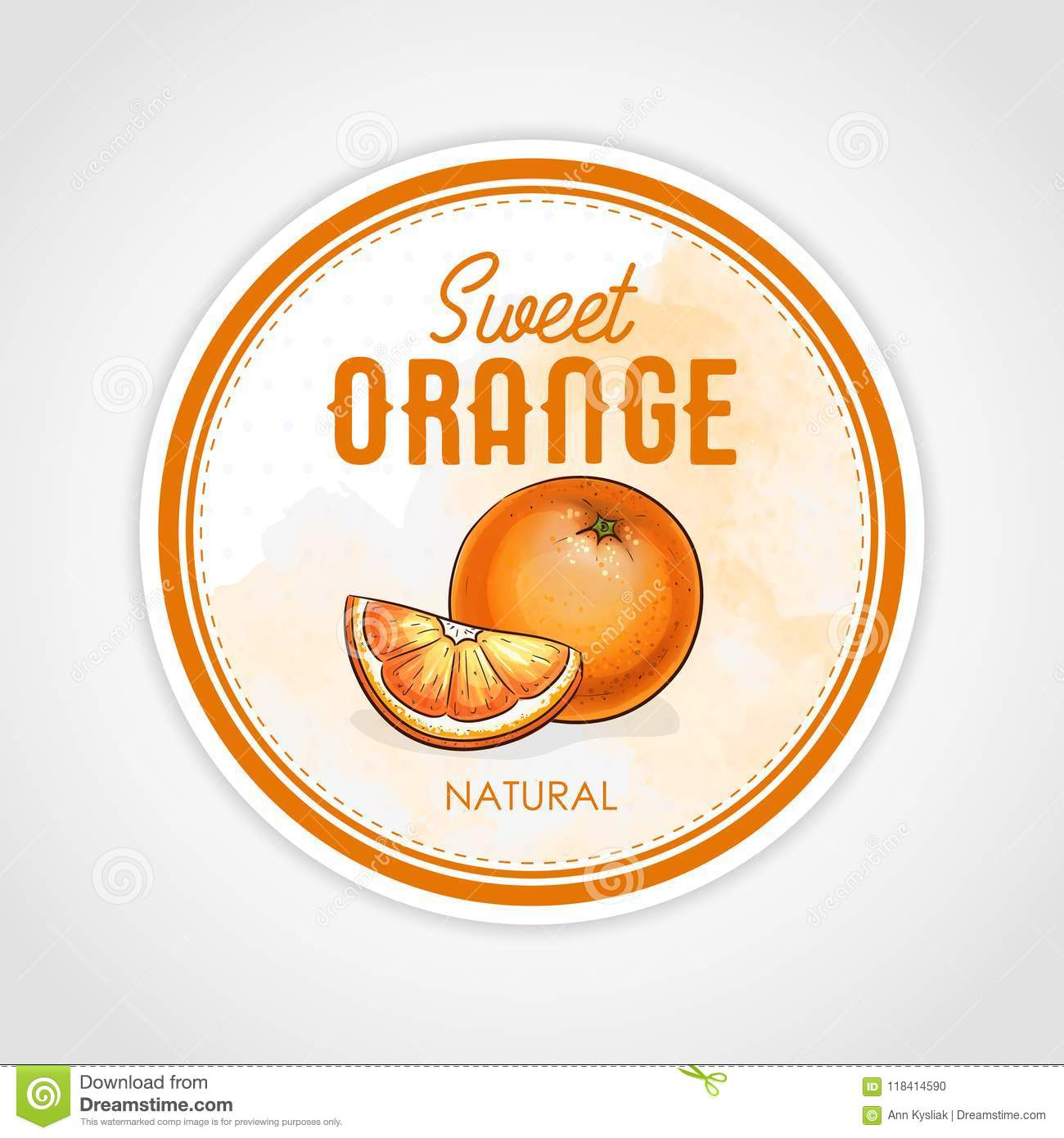vector round label of fruits on watercolor background, orange stock
