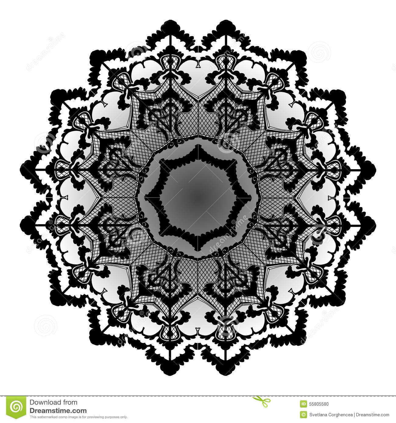 Vector Round Lace Flower Vintage Stock Vector - Image: 55805580