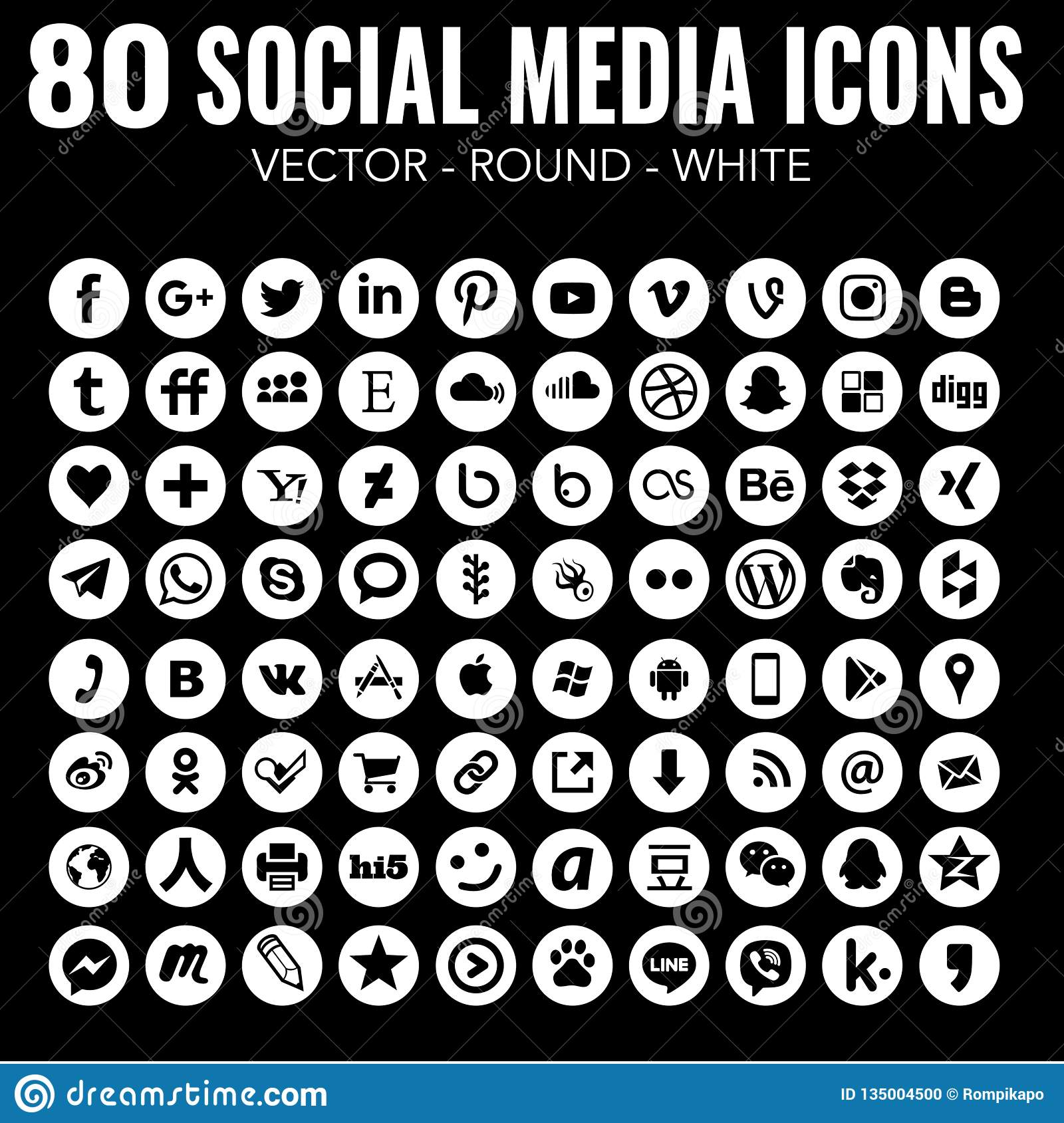 80 Vector Round White Social Media Icons For Graphic Design And Web Design Editorial Image Illustration Of Email Interface 135004500