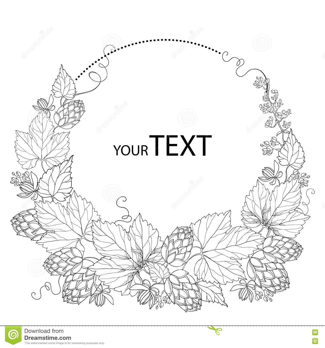 Black and white floral wreath stock vector image 65241515 - Vector Round Wreath With Ornate Hops Or Humulus Cones And Leaves In Black On White