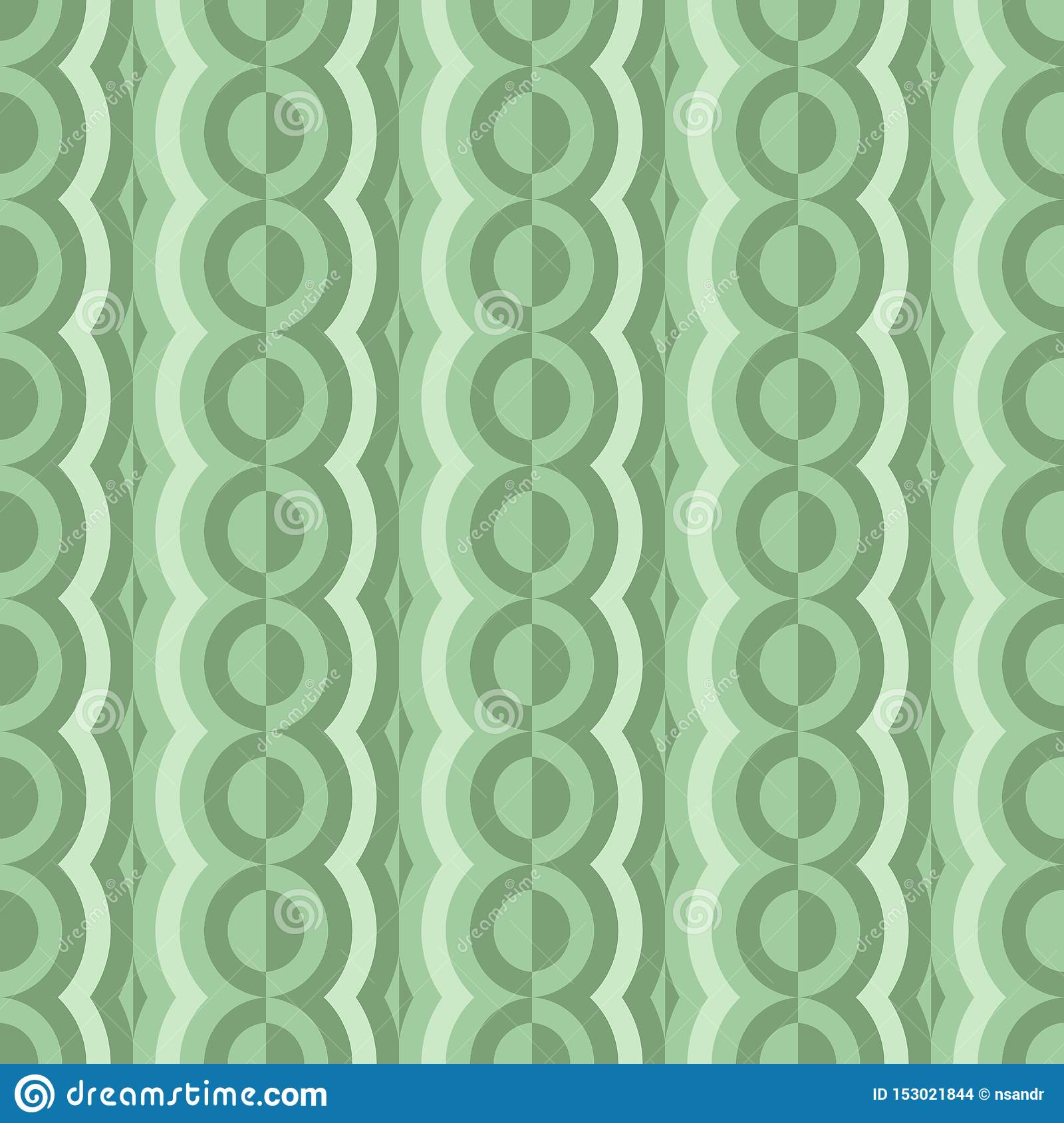 Vector rounded seamless pattern with contrast elements. Retro abstract geometric garlands for textile, prints, wallpaper, wrapping