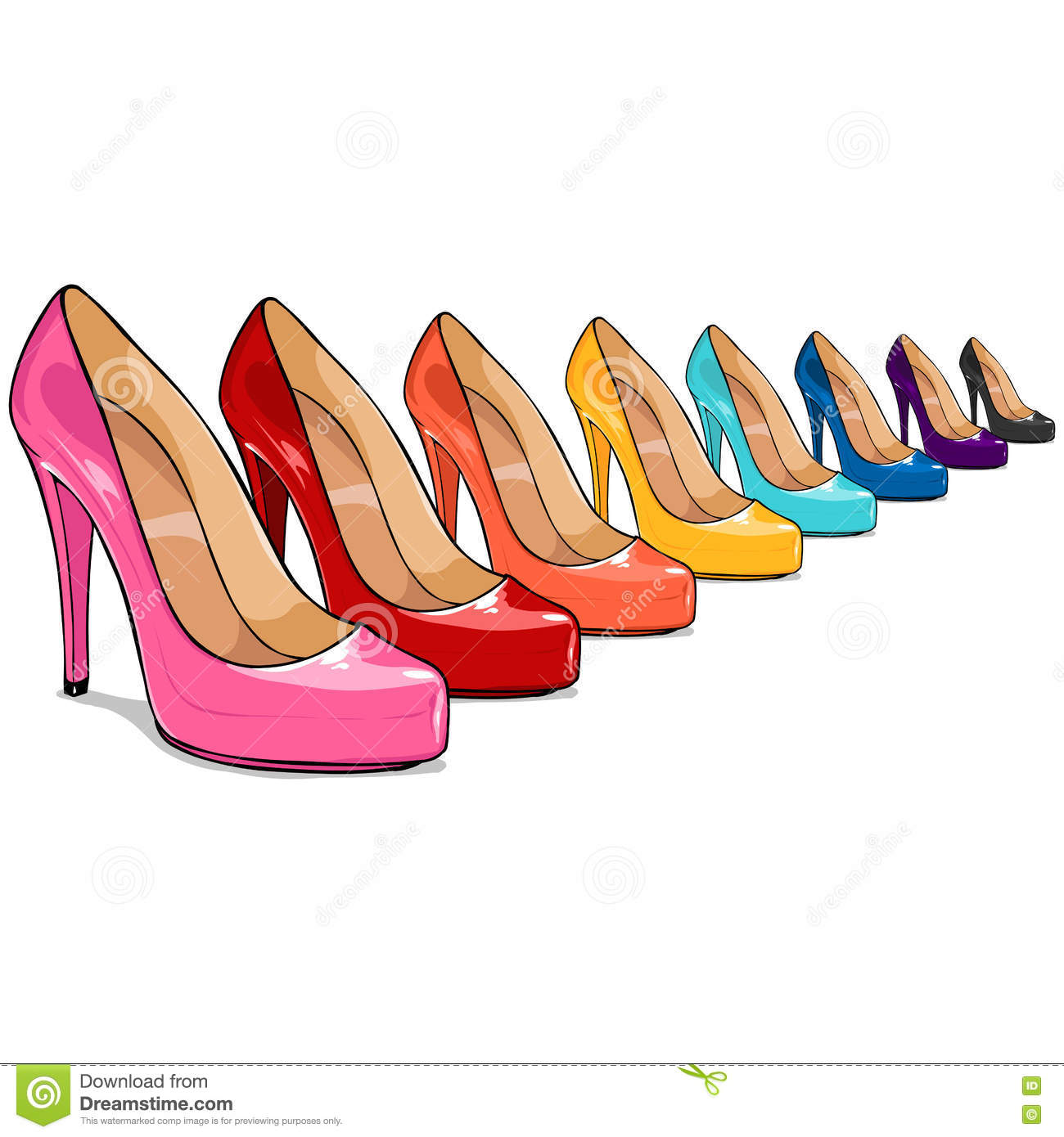 Vector Row Of Cartoon Color Women Shoes In Perspective