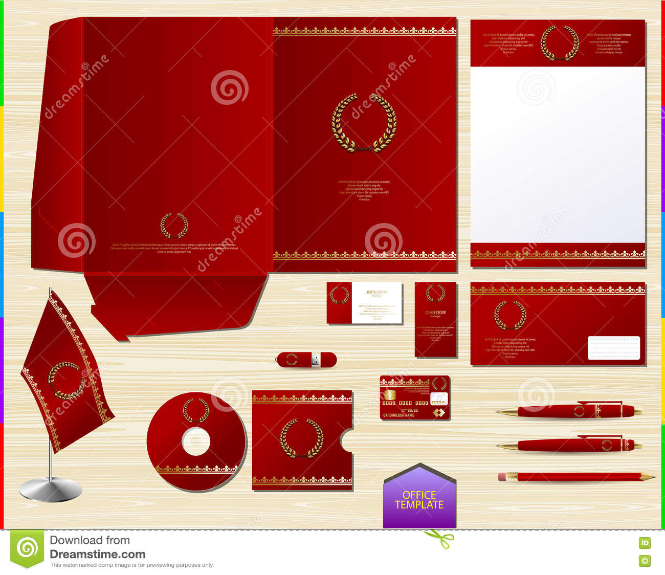 vector royal red corporate id brand book template