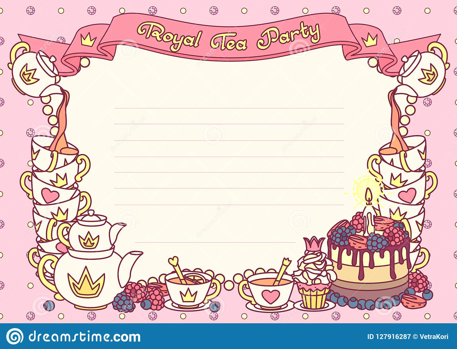 Vector Royal Tea Party Template Stock Vector - Illustration of