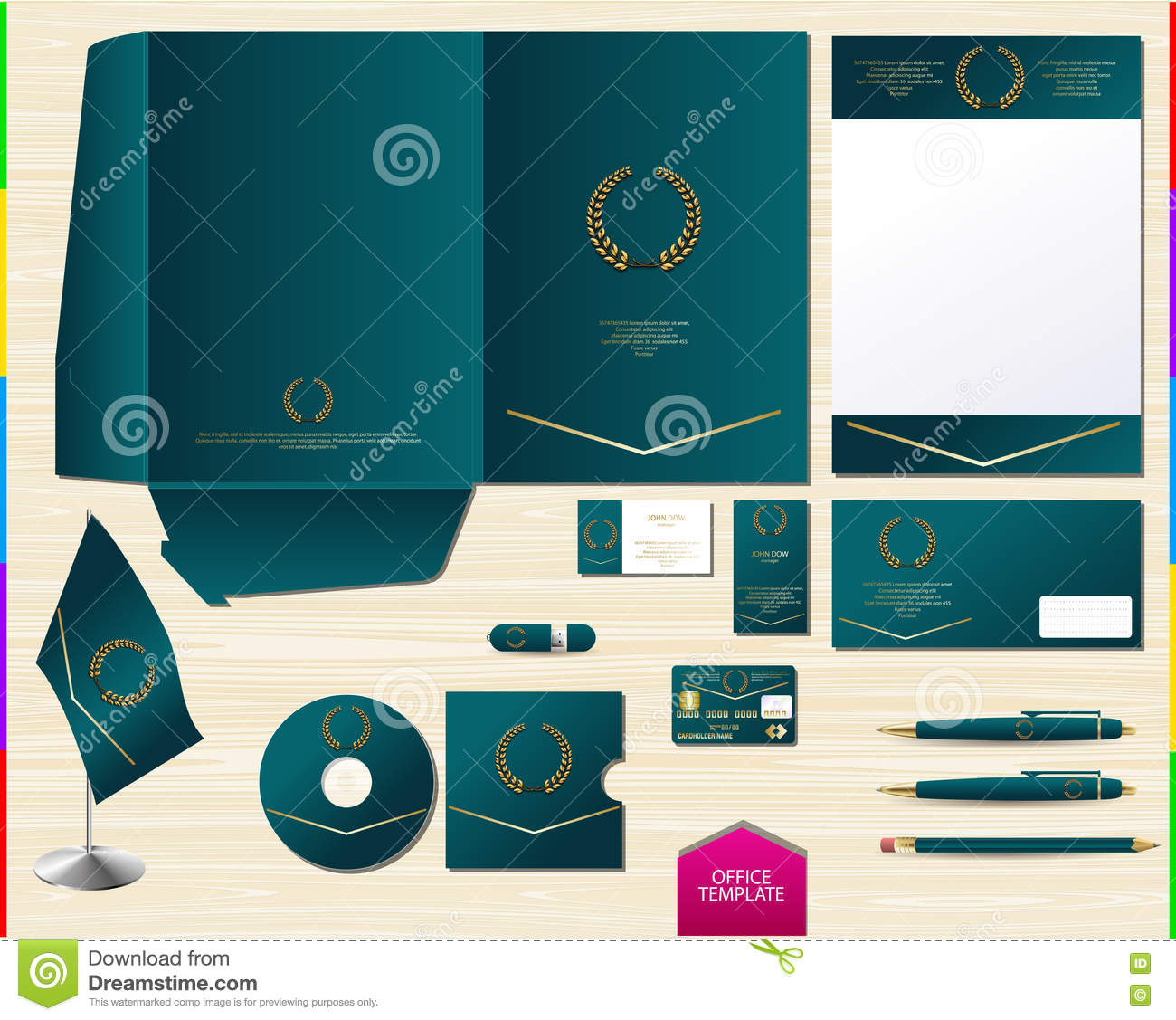 microsoft office cookbook template - vector royal turquoise corporate id brand book template