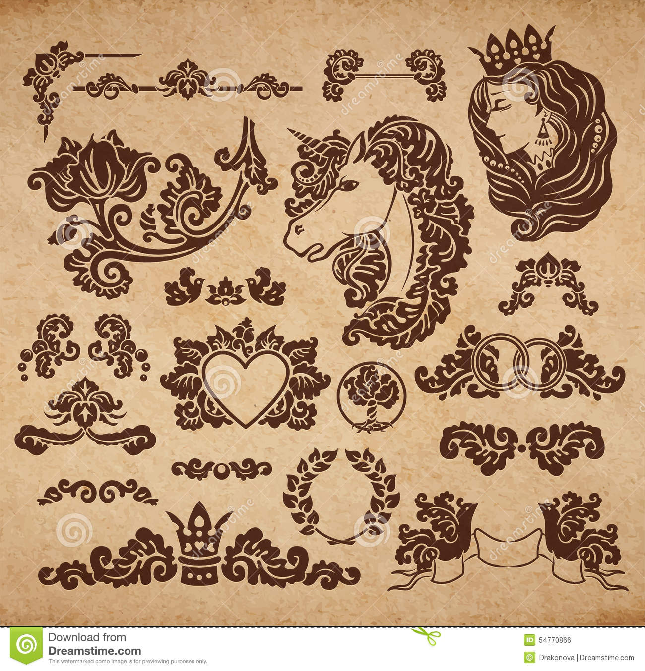 Vector royal wedding vignettes stock vector image 54770866 for Gothic design elements
