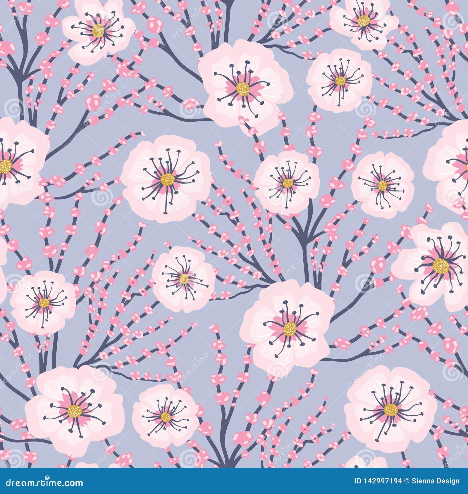 Vector Roze Bloemen Blauwe Achtergrond Cherry Blossom Meadows Seamless Pattern