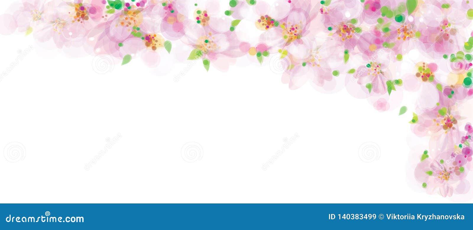 Vector roze, bloemengrens, tot bloei komende sakuraboom, bokeh effect