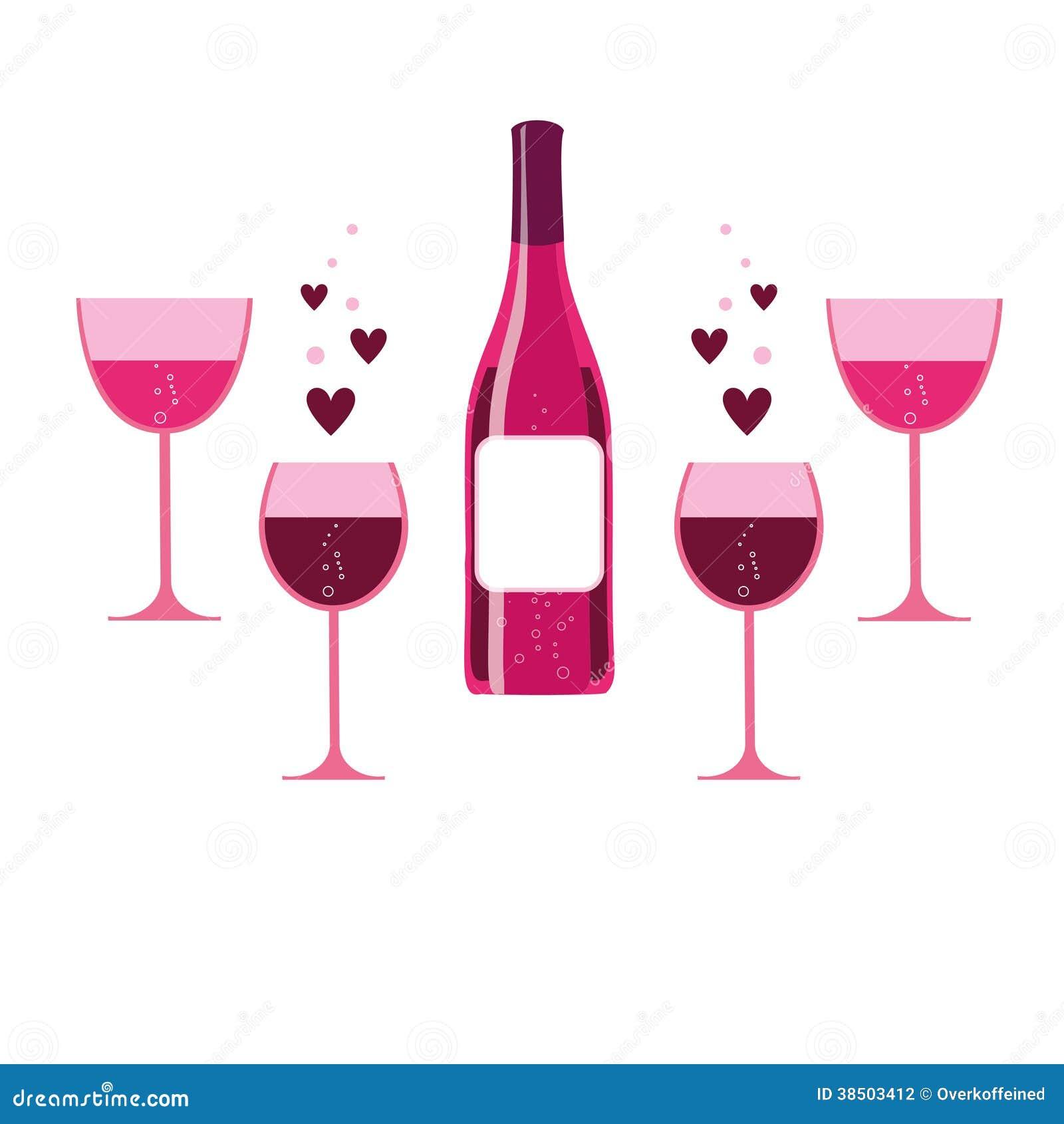 vector roze wijnglazen en fles stock fotografie