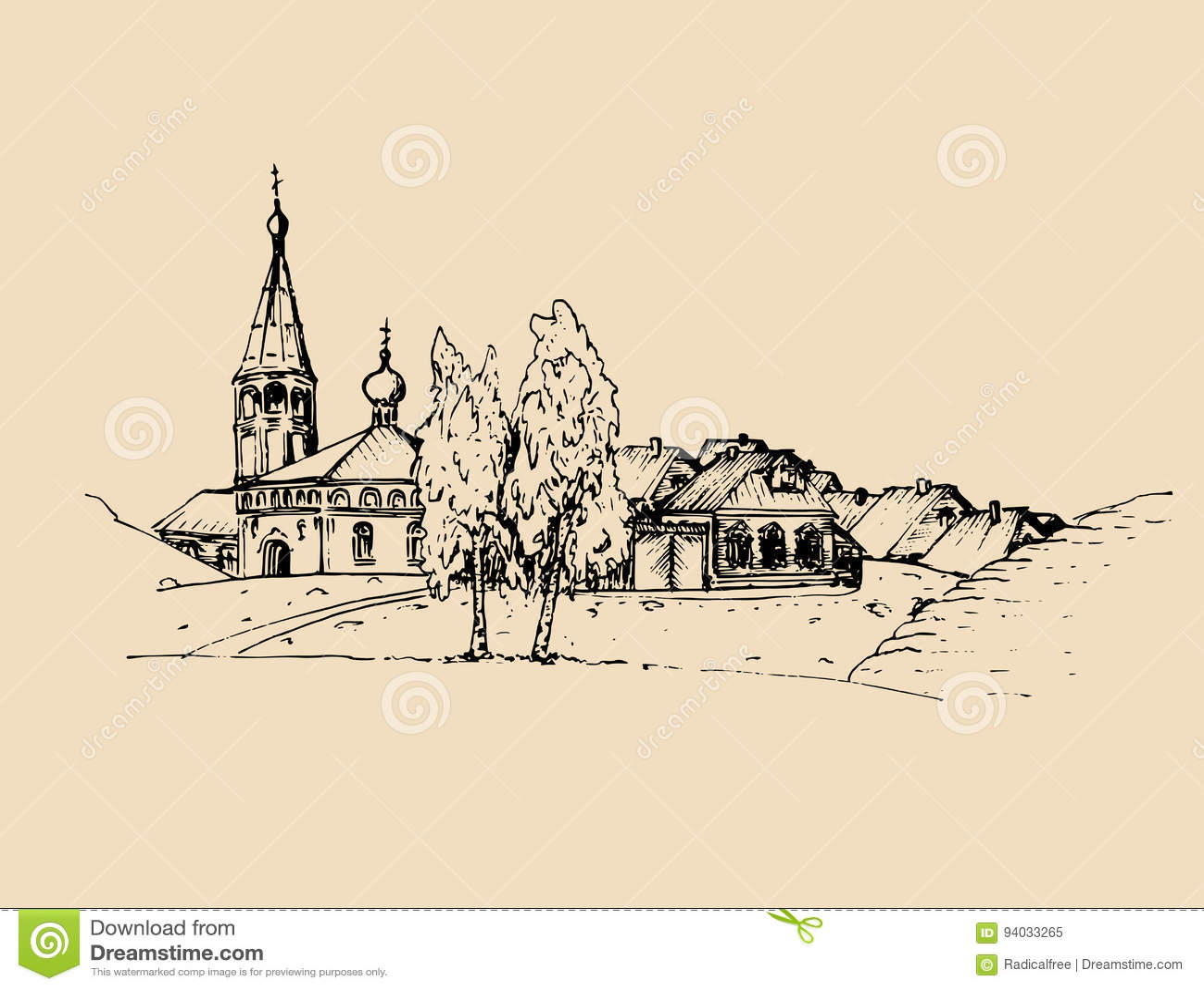 Vector Rural Landscape Illustration. Hand Drawn Russian Countryside ... for Farmland Sketch  177nar