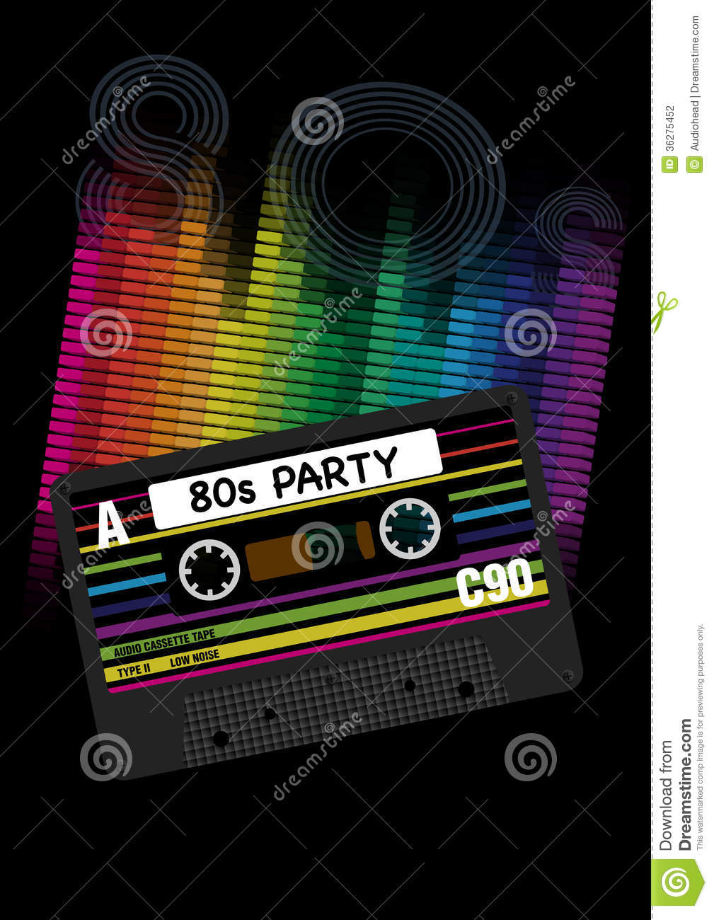 Vector 80s Party Background Stock Photography Image