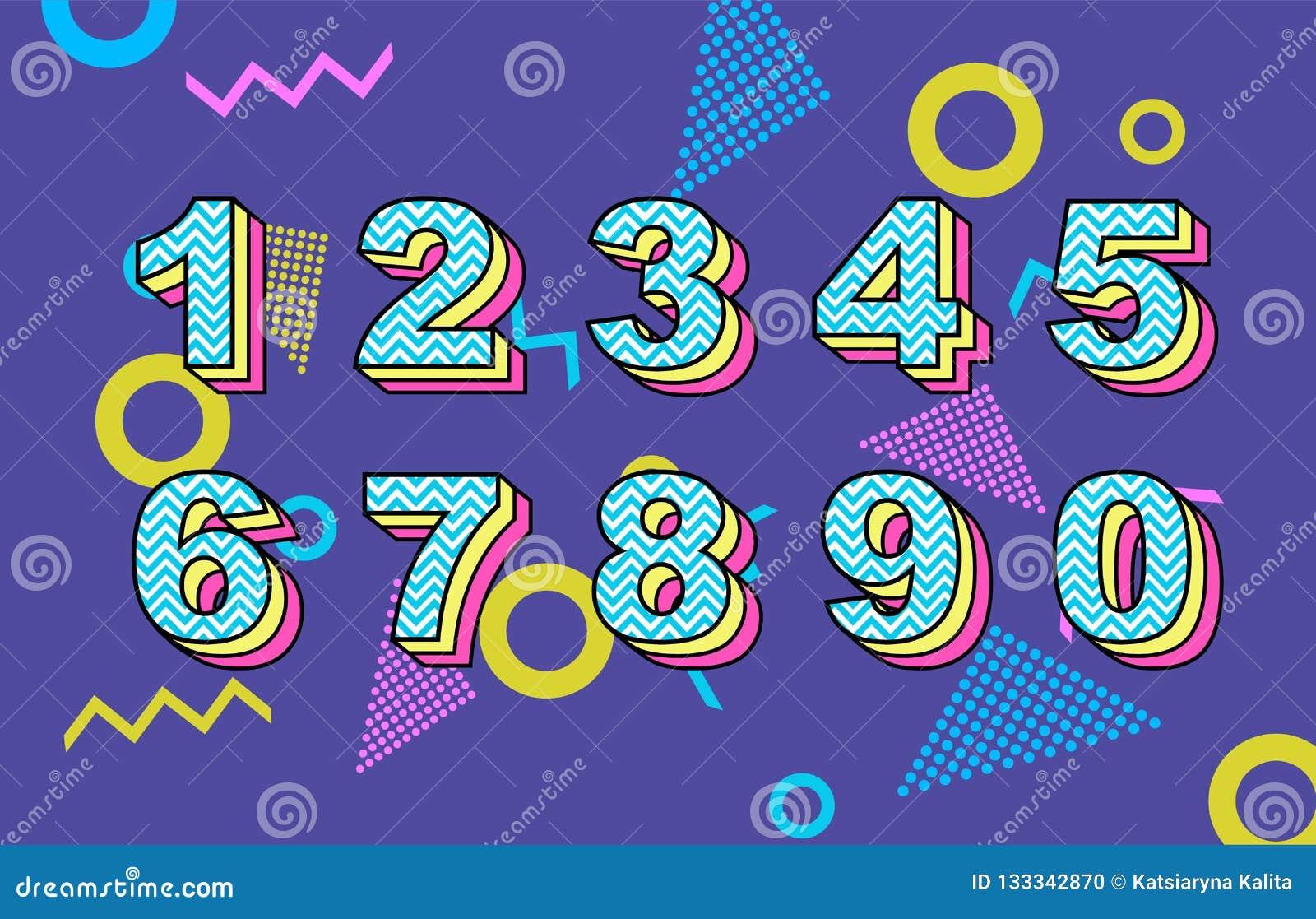 Vector Of 80 S Retro Folding Numbers  Vintage Script Font