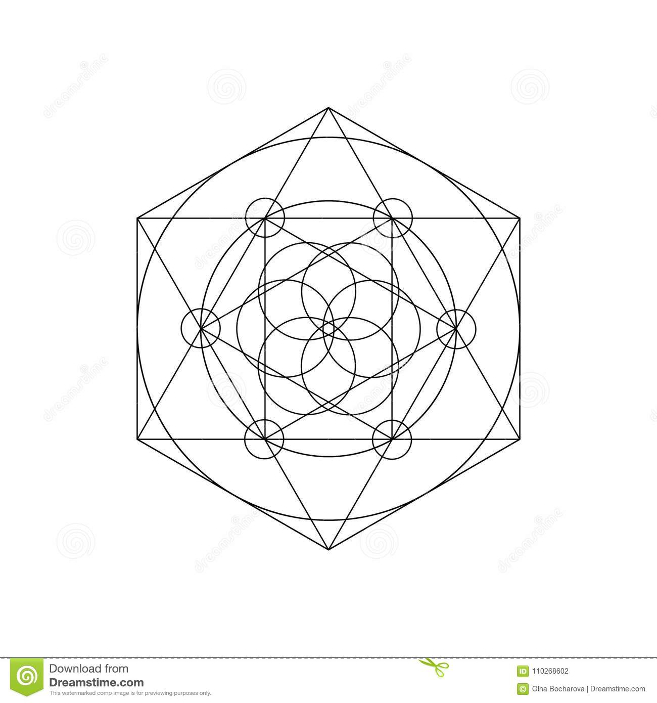 Vector Sacred Geometry Symbols With Triangle Hexagon Circle Stock
