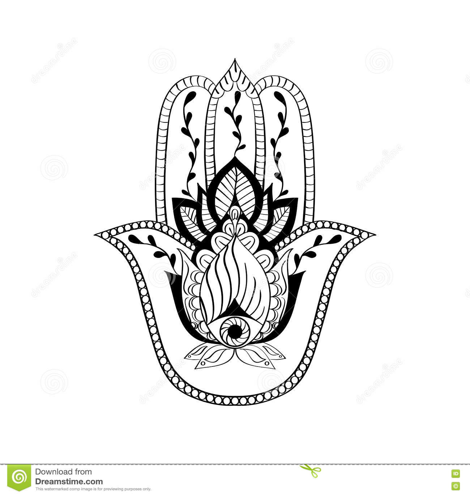 Vector Sacred Sign - Hamsa Hand, Hand Of Fatima. Indian ...
