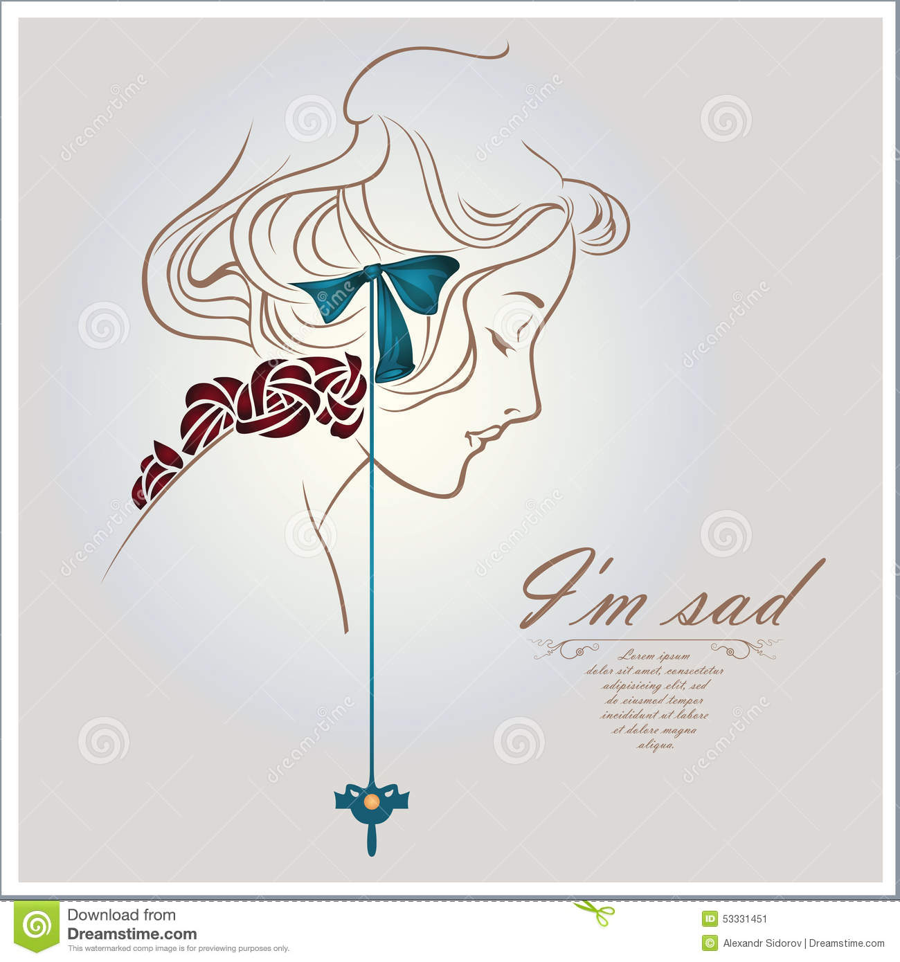 Vector concept art sad girl face sketch stock