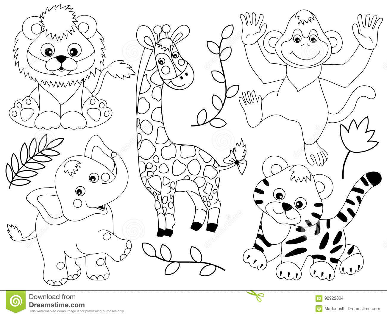 Line Art Jungle Animals : Safari cartoons illustrations vector stock images