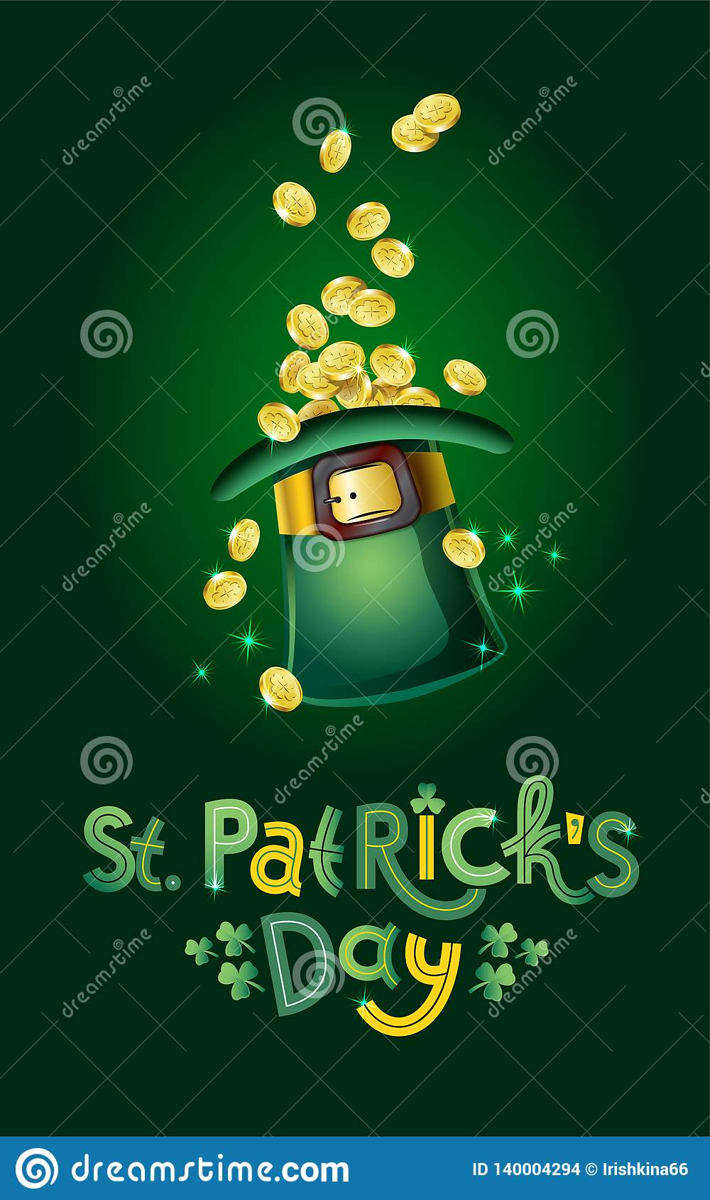 Vector Saint Patricks Day Card, hat full of golden coins, treasure of Leprechaun. Lettering text Happy St Patricks Day