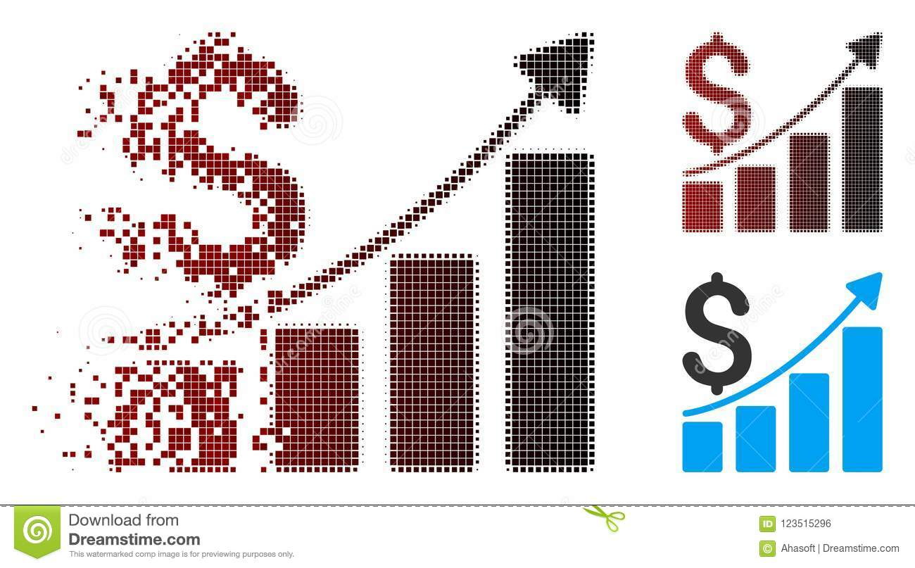 Sparkle Pixel Halftone Sales Growth Chart Icon Stock Vector