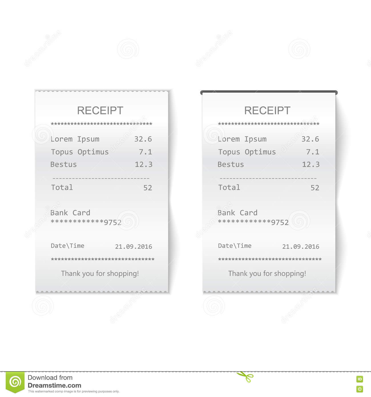 vector sales printed receipt bill atm template cafe or restaurant