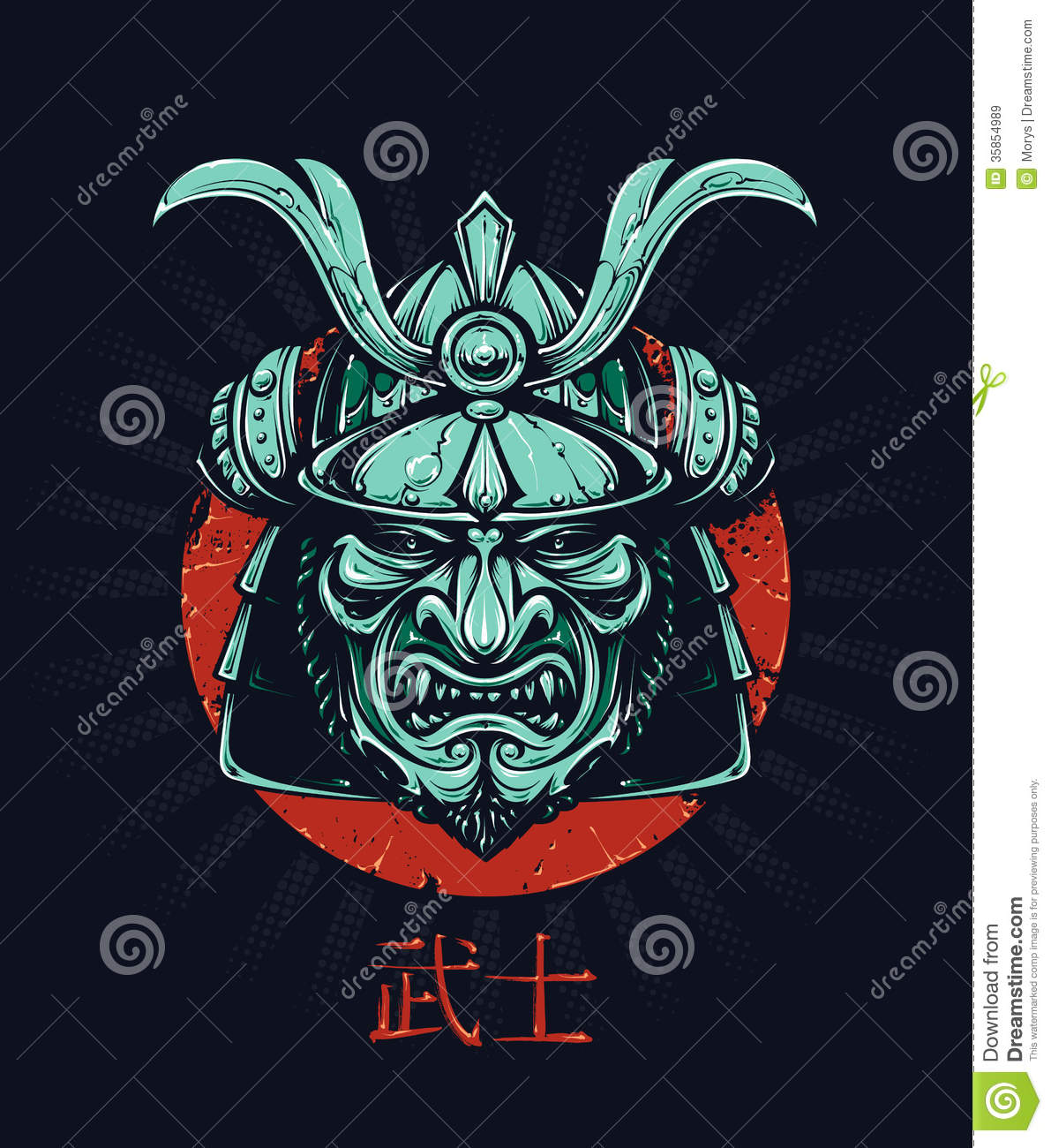 Vector samurai mask japanese traditional martial mask vector eps 10