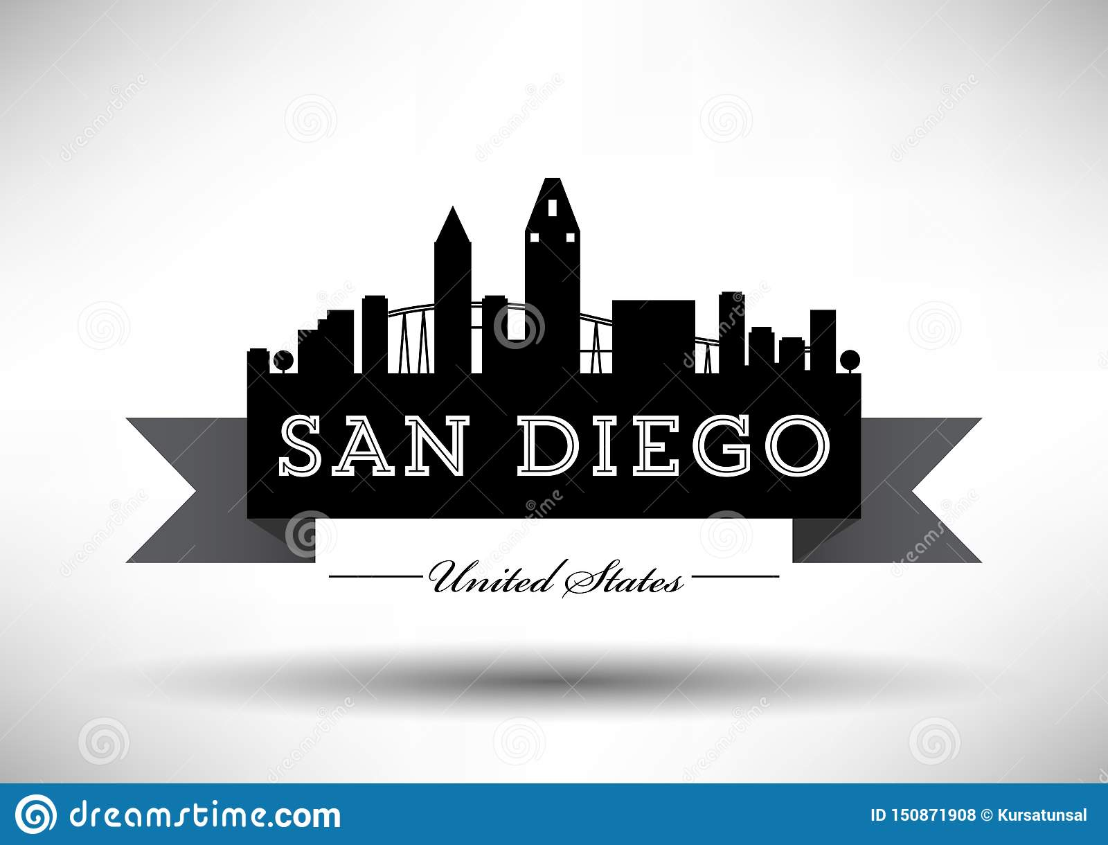Vector San Diego Skyline Design