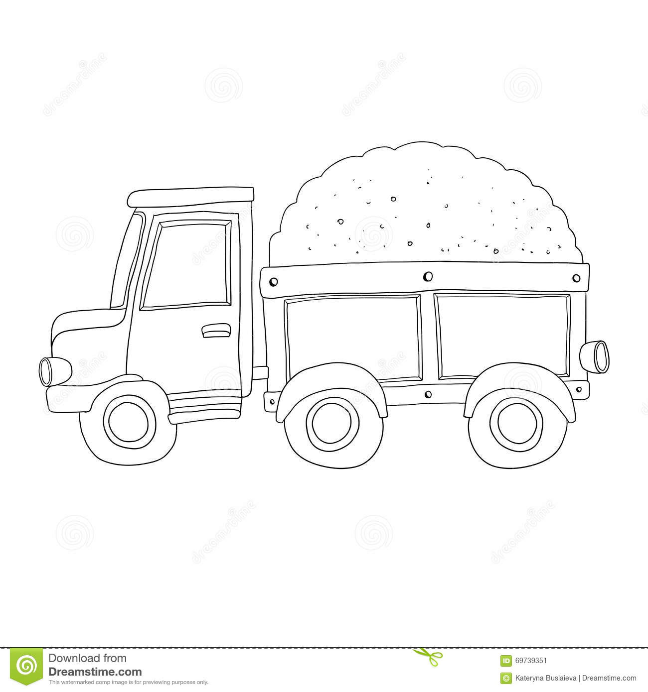 Vector Sand Truck For Coloring Book Stock Vector - Illustration of ...