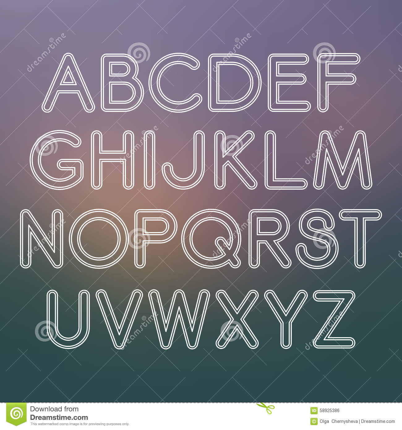 Vector Sans Serif Font With Rounded Corners Stock Vector