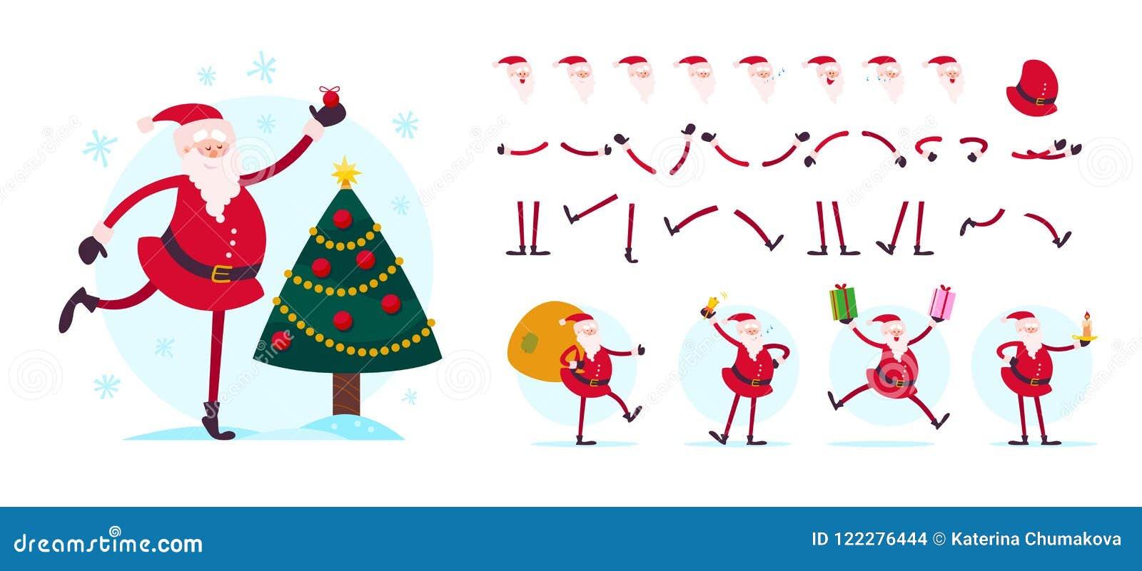 Vector Santa Claus-Charakterschöpfer - verschiedene Haltungen, Gesten, Gefühle, Feiertagselemente