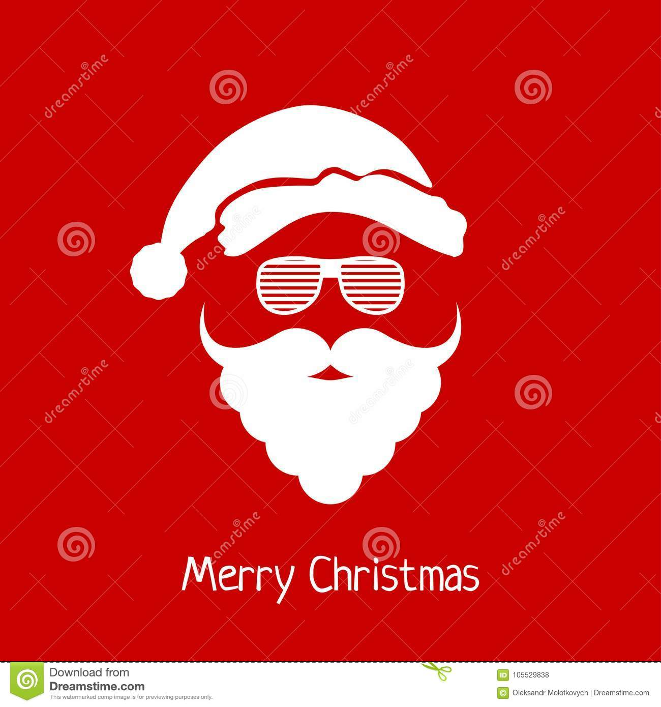 ec4bb8a46a76a4 Vector Santa Claus Head With Hat, Beard And Hipster Glasses. Stock ...